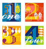 Colorful number designs set 1. Illustrated number counting design elements stock illustration