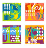 Colorful number designs set 3. Illustrated number counting design elements Stock Photo