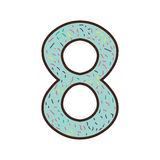Colorful number eight design with sparks Stock Photo