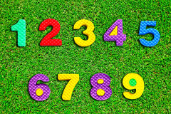 Colorful number on green grass Royalty Free Stock Photo