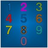Colorful number set icon on blue backgrpund stock illustration