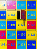 Colorful numbered lockers Royalty Free Stock Photography