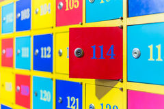 Colorful numbered lockers Royalty Free Stock Photo