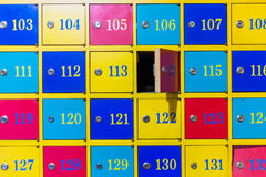 Colorful numbered lockers Stock Photography