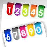 Colorful numbered paper tags. Set of colorful file or paper tags with shadows and numbers, perfect for filing system, medical or legal records Royalty Free Stock Photography