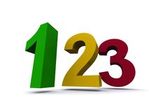 Colorful numbers. The numbers 1, 2, and 3 in bright colors Royalty Free Stock Photos
