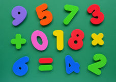 Colorful numbers. Colorful foam numbers on green background Royalty Free Stock Images