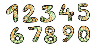 Colorful numbers. Colorful doodle numbers. Vector illustration. isolated Royalty Free Stock Images