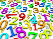 Colorful numbers background. 3d rendered illustration Stock Image