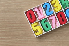 Colorful of numbers in the box. Stock Image