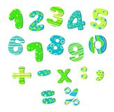 Colorful numbers for children bright green blue Royalty Free Stock Photo