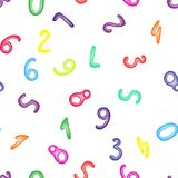 Colorful numbers from clay. Seamless pattern with plasticine numeral. School wallpaper. Royalty Free Stock Photo