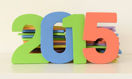 Colorful 2015 numbers of flat foam toys Stock Photography