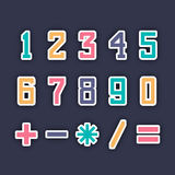 Colorful numbers and maths symbol. Stock Photos