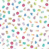 Colorful numbers pattern. Colorful numbers seamless pattern on white background Stock Image