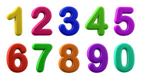 Colorful numbers, plasticine in different colours,  3d illustrat Stock Photos