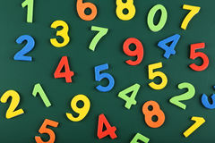 Colorful numbers on school board Royalty Free Stock Photography