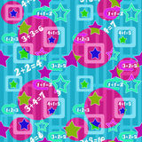 Colorful numbers and stars kids background seamless bright patte Stock Photo
