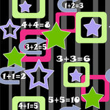 Colorful numbers and stars kids background seamless pattern. Colorful numbers and stars kids background seamless black pattern Royalty Free Stock Photos