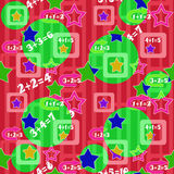 Colorful numbers and stars kids background seamless pattern Stock Images