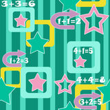 Colorful numbers and stars kids background seamless pattern Royalty Free Stock Images