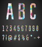 Colorful numbers and symbols  made of abstract geometric shapes Royalty Free Stock Images