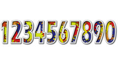 Colorful numbers. Ten colorful numbers on white background for editor royalty free illustration