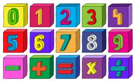 Colorful numbers from 1 to 9 with mathematical operations on blocks.  Stock Images