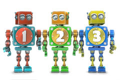 Colorful 123 numbers on vintage robots. Isolated. Contains clipping path. Colorful 123 numbers on vintage robots. Isolated over white. Contains clipping path royalty free illustration