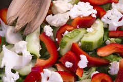 Dietary salad from nutritious vegetables - low-calorie and healt. A colorful nutritious low-calorie salad made from freshly sliced vegetables, consisting of Stock Photo
