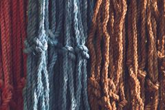 Colorful nylon rope background. Colorful nylon rope background, color synthetic braided rope Stock Photography