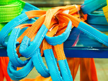 Colorful nylon soft lifting slings. Products for industrial enterprises Stock Image