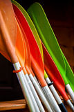 Colorful oars. Bunch of plastic colorful oars Stock Photo