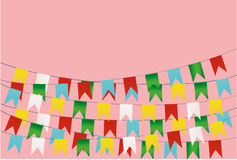 Colorful oatmeal on a rope with balloons. Garland of flags. Colorful bunting and garland set. Greeting card or birthday invitation. Empty space for text or your Royalty Free Stock Images
