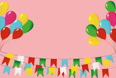 Colorful oatmeal on a rope with balloons. Garland of flags. Royalty Free Stock Photos