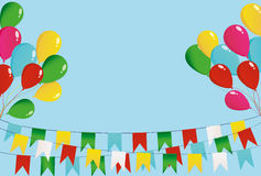 Colorful oatmeal on a rope with balloons. Garland of flags. Stock Image