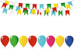 Colorful oatmeal on a rope with balloons. Garland of flags. Royalty Free Stock Image