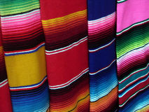 Colorful Oaxacan Blankets. Close- up view of stripes of colorful woven blankets made in Oaxaca Mexico royalty free stock image