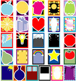 Colorful Object Silhouette cards. Vector Fun 26 Colorful Object Silhouette cards or templates. No gradients used and very easy to edit Stock Image