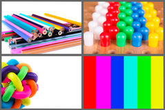 Colorful objects pencils, screen, rubber ball,. Pins on white background Stock Image