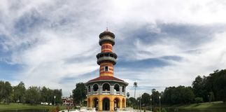 Colorful observatory tower, called Ho Withun Thasana at Bang Pa. Colorful observatory tower, called Ho Withun Thasana, with hazy sky at Bang Pa In palace Stock Photos