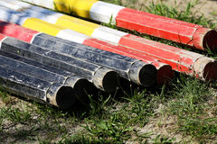 Colorful obstacles for horse jumping competition Royalty Free Stock Images