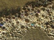 Colorful Ocean Wave Foam Bubbles on Beach Sand. Colorful Ocean Wave Foam Bubbles on Beach Sand on Daytona Beach at Daytona Beach Shores, Florida during Sunrise Royalty Free Stock Images