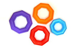 Colorful octagon rings. Isolated Royalty Free Stock Images