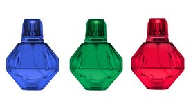 Colorful octagonal glass perfume bottles, or diamond pattern isolated on white background Royalty Free Stock Photo
