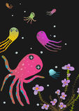 Colorful Octopus on Black Cartoon Greeting Card Stock Photo