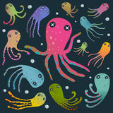 Colorful Octopus Isolated on Black Cartoon Clip Stock Photo