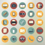 Colorful office and business icon set in circles with shadows Stock Images