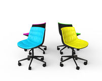 Colorful office chairs on white background. Royalty Free Stock Image