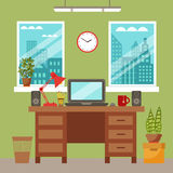 Colorful office desk with indoor plants Stock Photo